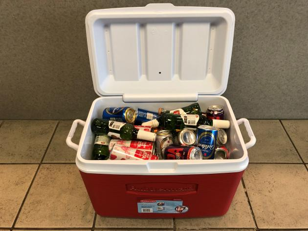 Cooler Full Of Beer From Bud Light, Superior Beverages, And B105